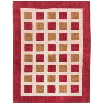 Luribaft Gabbeh Riz Hand-Knotted Dark Red/Ivory Area Rug