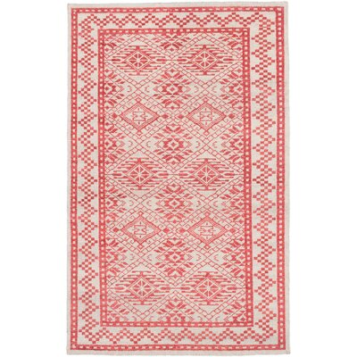 Creasey Hand-Knotted Cream/Red Area Rug