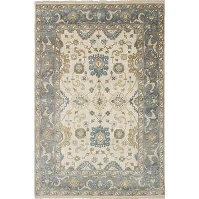 One-of-a-Kind Royal Ushak Hand-Knotted Cream/Gray Area Rug