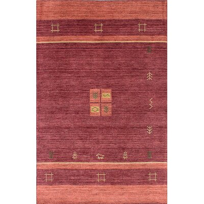 Luribaft Gabbeh Riz Hand-Knotted Red/Orange Area Rug