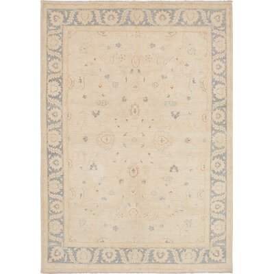 One-of-a-Kind Peshawar Oushak Hand-Knotted Cream/Gray Area Rug