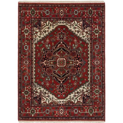 One-of-a-Kind Serapi Heritage Hand-Knotted Dark Burgundy/Green Area Rug