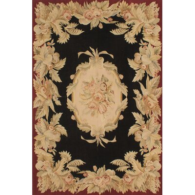 Kirshelle Flat-Woven Black/Dark Red Area Rug Rug Size: Rectangle 8 x 10