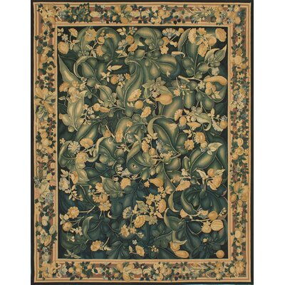 Berrywood Flat-Woven Black/Dark Green Area Rug