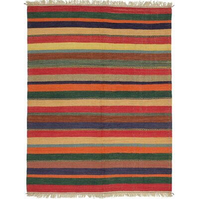 Gabbeh Flat-Woven Cream/Dark Burgundy Area Rug
