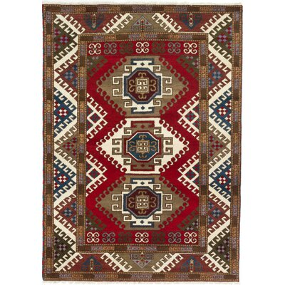 Royal Kazak Hand-Knotted Dark Burgundy/Brown Area Rug
