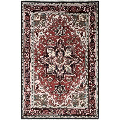 Larsen Hand-Knotted Cream/Dark Red Area Rug