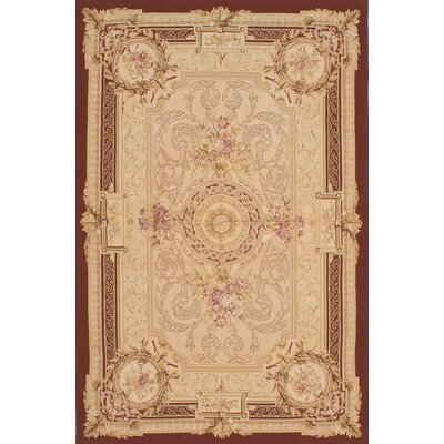 Kirshelle Hand-Woven Dark Red/Ivory Area Rug