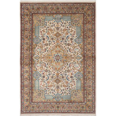 One-of-a-Kind Kenmar Hand-Knotted Beige/Blue Area Rug
