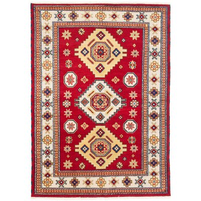 One-of-a-Kind Berkshire Hand-Knotted Cream/Dark Burgundy Area Rug