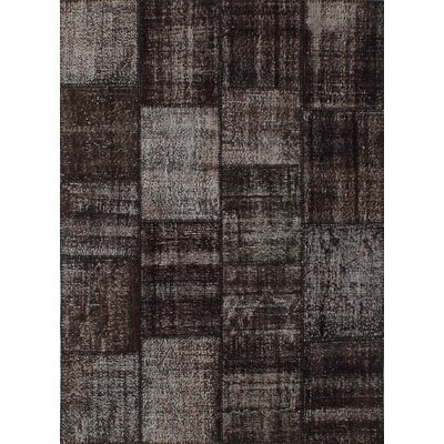 Color Transition Patch Hand-Knotted Black/Gray Area Rug
