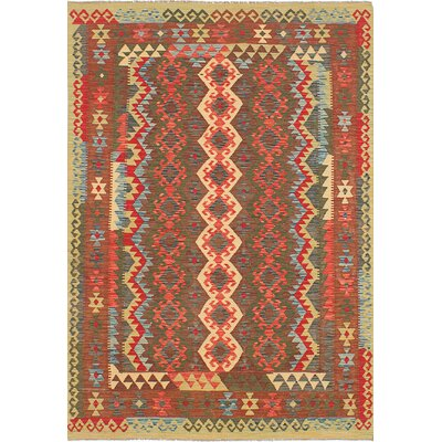 Hereke Kilim Flat-Woven Brown/Dark Burgundy Area Rug