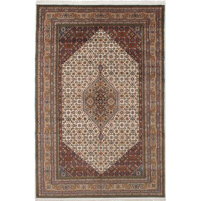 Bijar Hand-Knotted Cream/Brown Area Rug