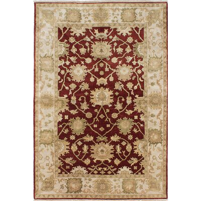 Royal Ushak Hand-Knotted Dark Red Area Rug