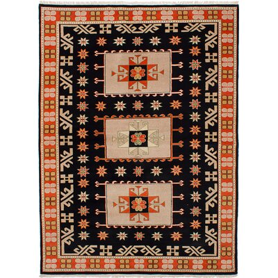 Peshawar Ziegler Hand-Knotted Black/Orange Area Rug