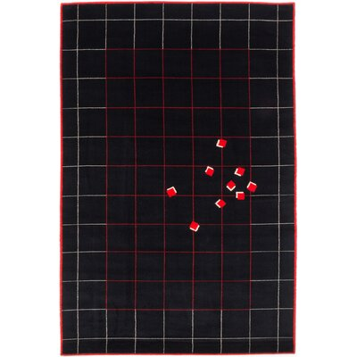 Bressler Wool Black/Red Area Rug