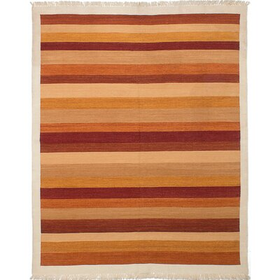 Ankara Kilim Flat-Woven Dark Orange/Beige Area Rug