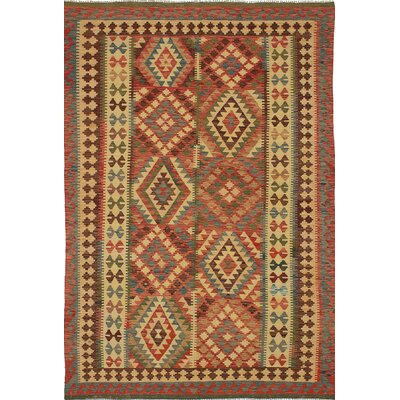 Anatolian Kilim Flat-Woven Beige/Bright Red Area Rug