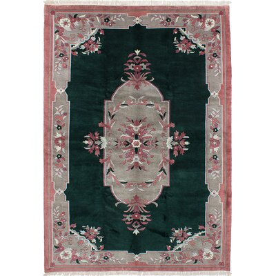 One-of-a-Kind Karma Hand-Knotted Green/Pink Area Rug