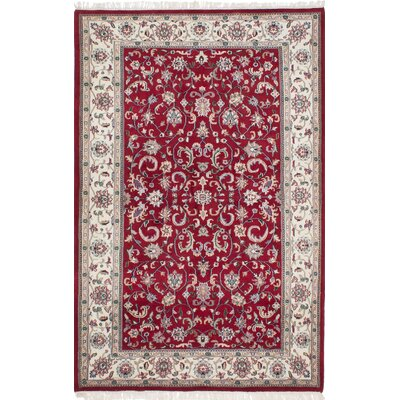 Royal Mahal Hand-Knotted Dark Red/Beige Area Rug