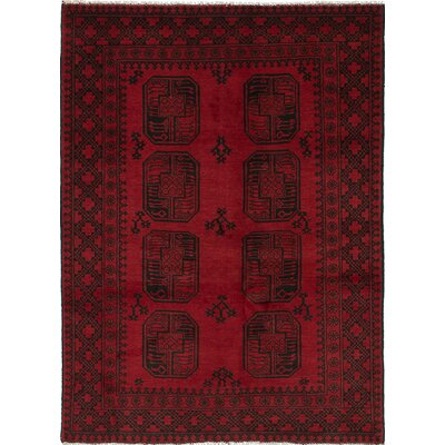 Bridges Traditional Hand-Knotted Dark Burgundy Area Rug