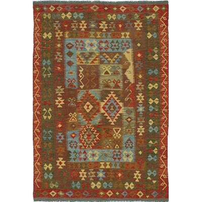 Anatolian Kilim Flat-Woven Camel Brown/Bright Red Area Rug