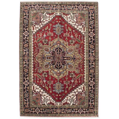 One-of-a-Kind Baldry Hand-Knotted Dark Burgundy/Beige Area Rug