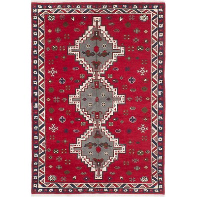 Royal Kazak Hand-Knotted Dark Burgundy/Beige Area Rug