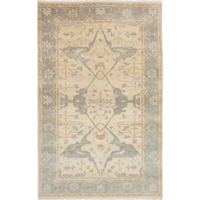 One-of-a-Kind Royal Ushak Hand-Knotted Light Yellow/Gray Area Rug