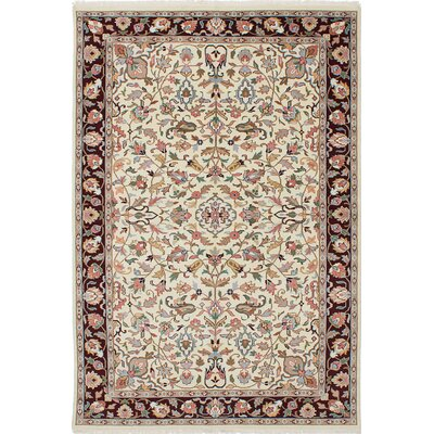 One-of-a-Kind Kashmir Hand-Knotted Beige/Pink Area Rug