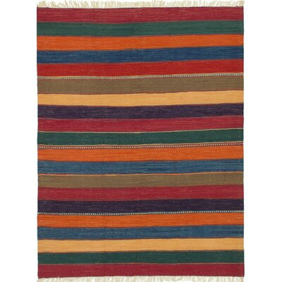 Gabbeh Flat-Woven Dark Burgundy/Orange Area Rug