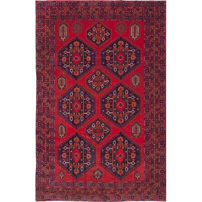 Finest Rizbaft Hand-Knotted Dark Burgundy Area Rug