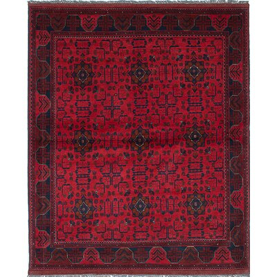 One-of-a-Kind Rosales Traditional Hand-Knotted Dark Burgundy Area Rug