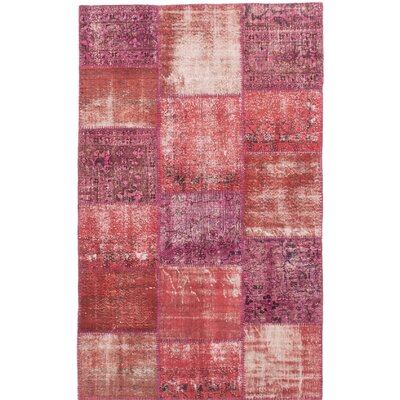 Color Transition Patch Hand-Knotted Dark Burgundy/Pink Area Rug
