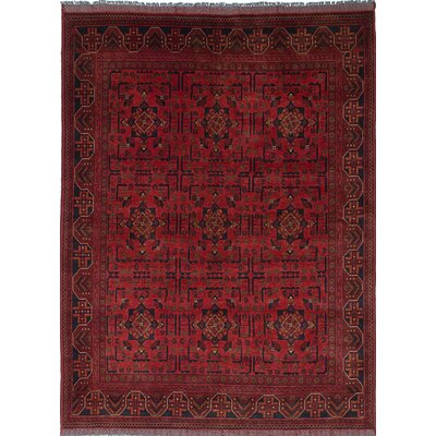 One-of-a-Kind Rosales Hand-Knotted Dark Burgundy/Black Area Rug