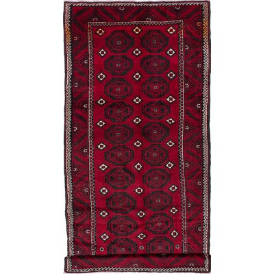 One-of-a-Kind Finest Baluch Hand-Knotted Black/Dark Burgundy Area Rug