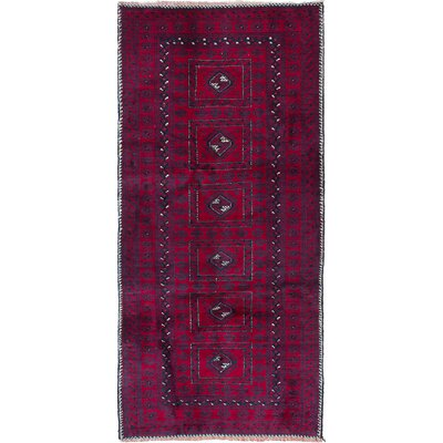 Finest Baluch Wool Hand-Knotted Navy/Red Area Rug