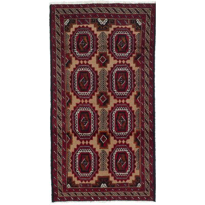 One-of-a-Kind Finest Baluch Wool Hand-Knotted Beige/Red Area Rug