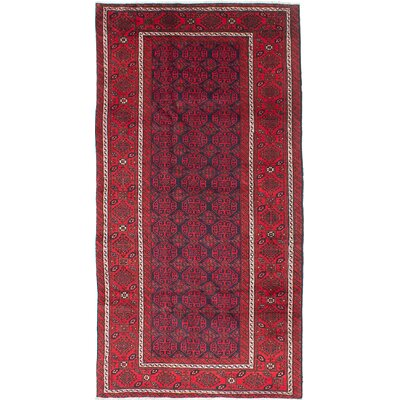 One-of-a-Kind Finest Baluch Wool Hand-Knotted Dark Burgundy Area Rug