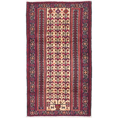 Finest Baluch Wool Hand-Knotted Ivory/Red Area Rug