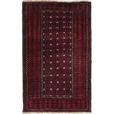 Finest Baluch Hand-Knotted Dark Red Area Rug