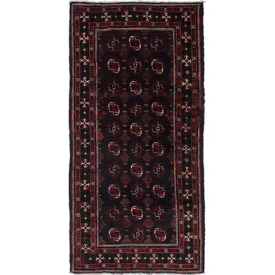 One-of-a-Kind Finest Baluch Wool Hand-Knotted Black/Dark Burgundy Area Rug