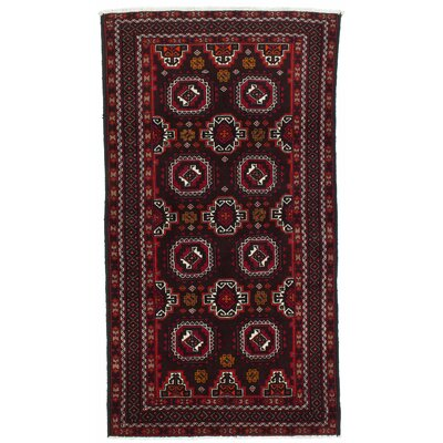 Finest Baluch Wool Hand-Knotted Dark Brown Area Rug