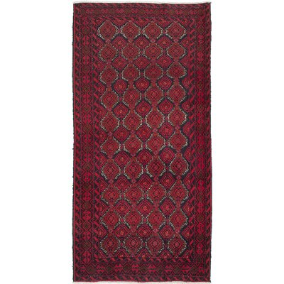 One-of-a-Kind Finest Baluch Wool Hand-Knotted Red Area Rug