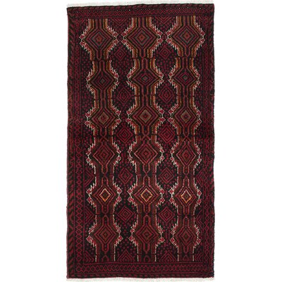 Finest Baluch Wool Hand-Knotted Dark Red Area Rug