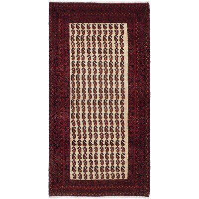 Finest Baluch Wool Hand-Knotted Cream/Dark Red Area Rug
