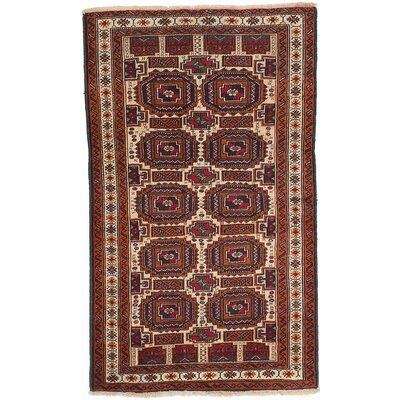 One-of-a-Kind Finest Baluch Hand-Knotted Cream Area Rug