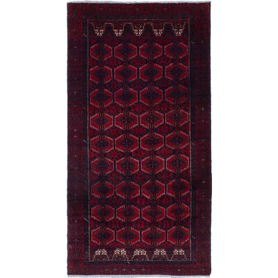 Finest Baluch Wool Hand-Knotted Dark Navy/Red Area Rug