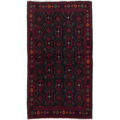 One-of-a-Kind Finest Baluch Wool Hand-Knotted Dark Navy Area Rug