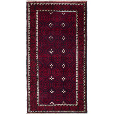 One-of-a-Kind Finest Baluch Wool Hand-Knotted Dark Navy/Red Rug